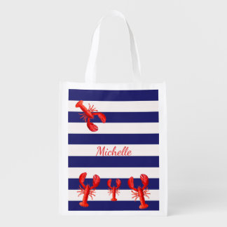 Classic blue white stripes with red lobsters name reusable grocery bags