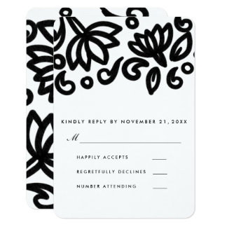 Classic Bold Floral Pattern Wedding RSVP Card