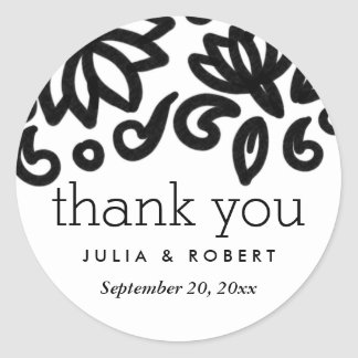 Classic Bold Floral Pattern Wedding Thank You Round Sticker
