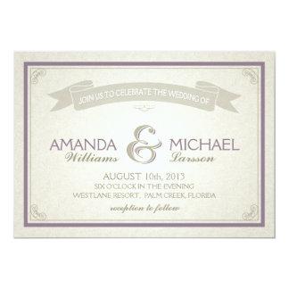 Classic Border Wedding Invitation - purple