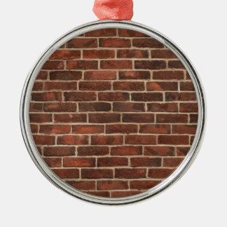 Classic Brickwall Print Silver-Colored Round Ornament