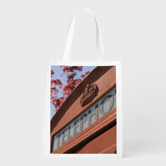 classic  bright red telephone box market totes