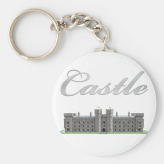 Classic British Castle with Castle Text Basic Round Button Keychain