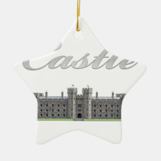 Classic British Castle with Castle Text Ceramic Ornament