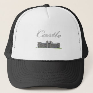 Classic British Castle with Castle Text Trucker Hat