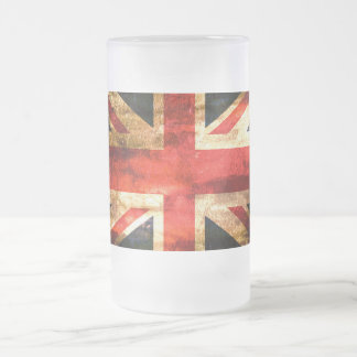 Classic British flag Frosted Glass Beer Mug