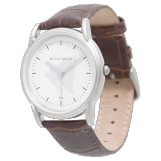 Classic: Brown: Map of Nicaragua Wristwatch