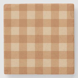 Classic brown plaid checkered cloth stone coaster