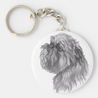 Classic Brussels Griffon  Dog profile Drawing Basic Round Button Keychain