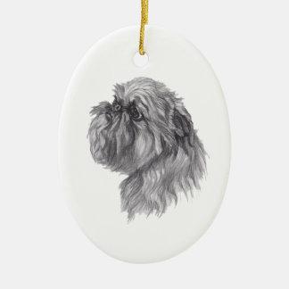 Classic Brussels Griffon  Dog profile Drawing Ceramic Ornament