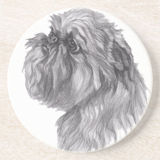 Classic Brussels Griffon  Dog profile Drawing Coaster