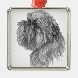 Classic Brussels Griffon  Dog profile Drawing Metal Ornament