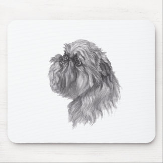 Classic Brussels Griffon  Dog profile Drawing Mouse Pad