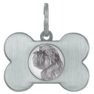 Classic Brussels Griffon  Dog profile Drawing Pet Tag