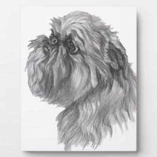 Classic Brussels Griffon  Dog profile Drawing Plaque