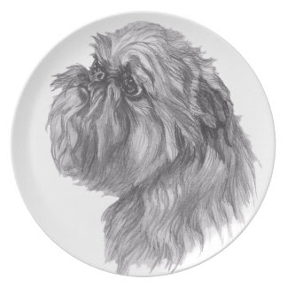 Classic Brussels Griffon  Dog profile Drawing Plate