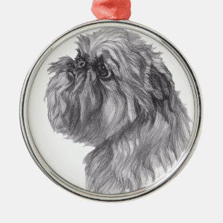 Classic Brussels Griffon  Dog profile Drawing Silver-Colored Round Ornament
