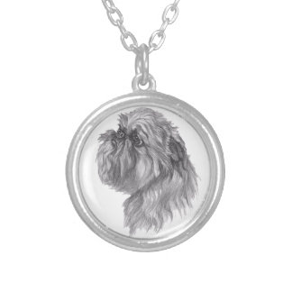 Classic Brussels Griffon  Dog profile Drawing Silver Plated Necklace