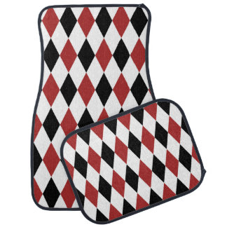 Classic Burgundy and Black Harlequin Pattern Car Mat