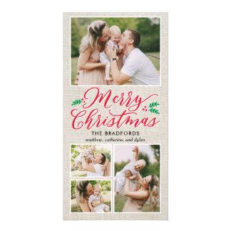 Classic Burlap Merry Christmas Holiday Photo Card