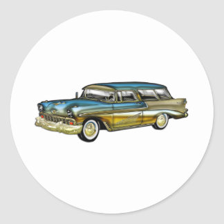 Classic Cadillac 2 Door Hard Top Round Sticker