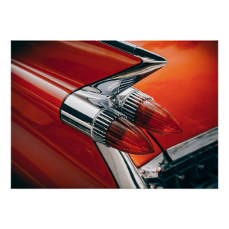 Classic Cadillac Tail Fin Auto Red Car Poster Art