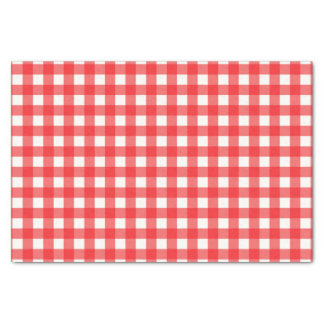 Classic Cafe Red Gingham Checked Pattern Tissue Paper