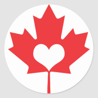 Classic Canadian Maple Leaf and Heart Canada Day Round Sticker