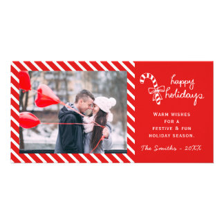 Classic Candy Cane Holiday Photo Card