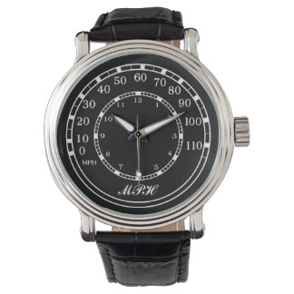 Classic Car Black MPH Speedometer with Initials Watch