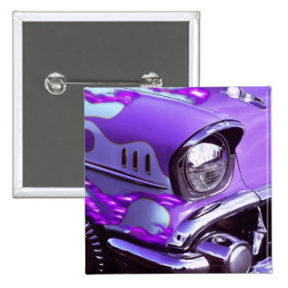 Classic car: Chevrolet with flaming hood 2 Inch Square Button