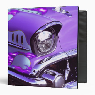 Classic car: Chevrolet with flaming hood 3 Ring Binder