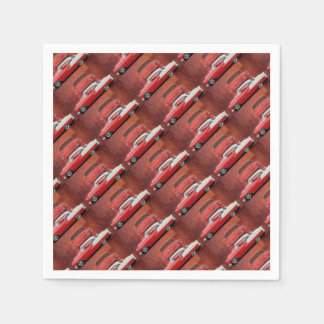 Classic Car Chevy Bel Air Dodge Red White Vintage Paper Napkins