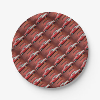 Classic Car Chevy Bel Air Dodge Red White Vintage Paper Plate