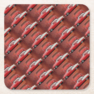 Classic Car Chevy Bel Air Dodge Red White Vintage Square Paper Coaster