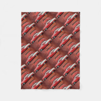 Classic Car Chevy Bel Air Red White Vintage Dodge Fleece Blanket