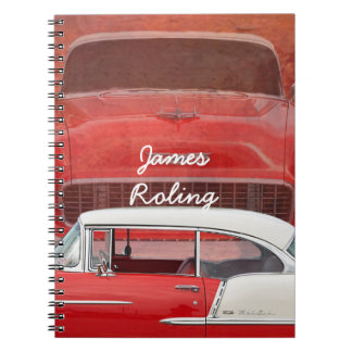 Classic Car Chevy Bel Air Red White Vintage Dodge Spiral Notebook