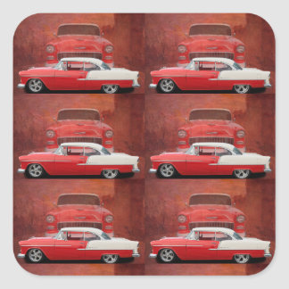 Classic Car Chevy Bel Air Red White Vintage Dodge Square Sticker