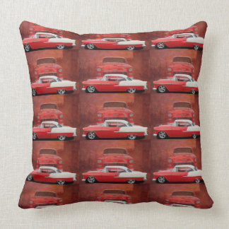 Classic Car Chevy Bel Air Red White Vintage Photo Throw Pillow