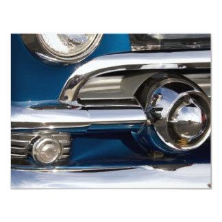 "Classic Car Chrome Closeup 4.25"" X 5.5"" Invitation Card"