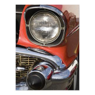 "Classic Car Chrome Parts and Headlight 6.5"" X 8.75"" Invitation Card"