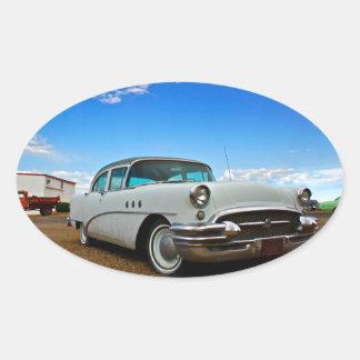 Classic car full of retro chrome oval sticker