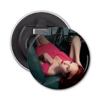 Classic Car Girl Be Lair Pin Up Beauty Pink Dress Bottle Opener
