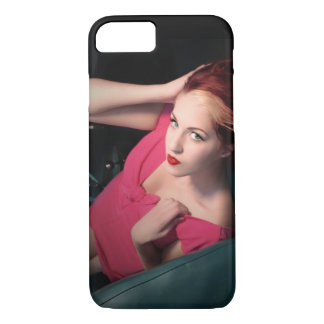 Classic Car Girl Be Lair Pin Up Beauty Pink Dress iPhone 8/7 Case