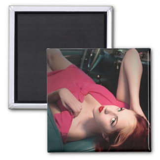 Classic Car Girl Be Lair Pin Up Beauty Pink Dress Magnet