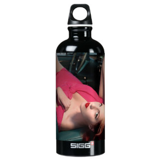 Classic Car Girl Be Lair Pin Up Beauty Pink Dress Water Bottle