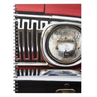 Classic Car Headlight Spiral Notebooks
