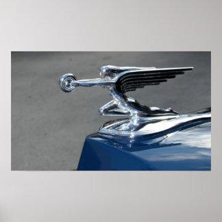 classic car hood ornament poster