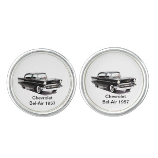 Classic car image  Round Cufflinks, Silver Plated Cufflinks
