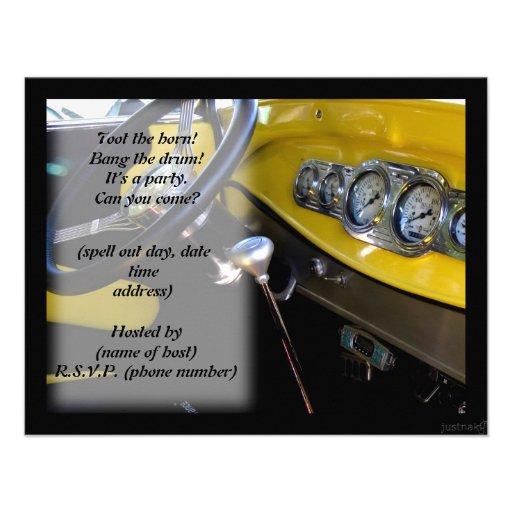 classic car iv party invite
